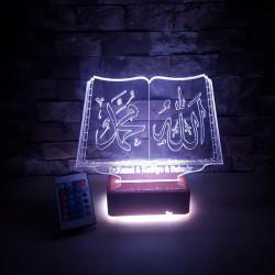 ALLAH MUHAMMED YAZILI 3 BOYUTLU ÖZEL İSİMLİ LED LAMBA - DEKORATİF 3D LED LAMBA