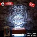 POLİS ARMALI  3D LED LAMBA - İSİMLİ KİŞİYE ÖZEL 3 BOYUTLU DEKORATİF LED LAMBA