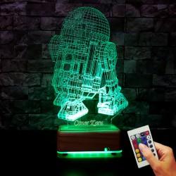 STARWARS-R2-ROBOTU 3D LED LAMBA - İSİMLİ KİŞİYE ÖZEL İSİMLİ