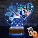 Sevgiliye Hediye Resimli Saatli Gece Lambası Masa Lambası