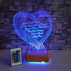 KALPLİ 3 BOYUTLU SEVGİLİYE ÖZEL LED LAMBA - DEKORATİF 3D LED LAMBA