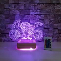 MOTOR 3 BOYUTLU ÖZEL İSİMLİ LED LAMBA - DEKORATİF 3D LAMBA