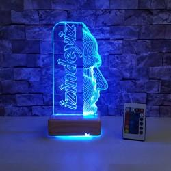 M.KEMAL  ATATÜRK 3 BOYUTLU ÖZEL İSİMLİ LED LAMBA - DEKORATİF LED LAMBA 3D LED