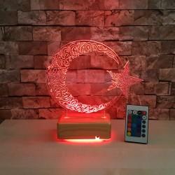 AY YILDIZ 3 BOYUTLU ÖZEL İSİMLİ LED LAMBA - DEKORATİF 3D LED LAMBA