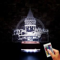 GALATA KULESİ 3D LED LAMBA - İSİMLİ KİŞİYE ÖZEL 3 BOYUTLU DEKORATİF LED LAMBA