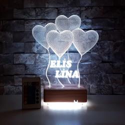 4 KALPLİ MODEL 3 BOYUTLU KİŞİYE ÖZEL LED LAMBA  - 3D LED DEKORATİF LED LAMBA