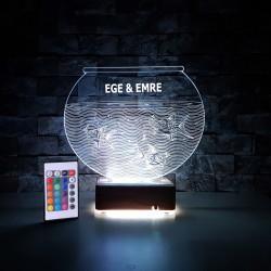 AKVARYUM BALIKLI 3D LED LAMBA KİŞİYE ÖZEL İSİMLİ LED LAMBA  - DEKORATİF LED LAMBA