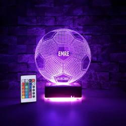 FUTBOL TOPU MODEL 3 BOYUTLU KİŞİYE ÖZEL LED LAMBA  - DEKORATİF LED LAMBA 3D LED