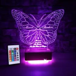KELEBEK 3D KİŞİYE ÖZEL LED LAMBA  - DEKORATİF LED LAMBA 3 BOYUTLU