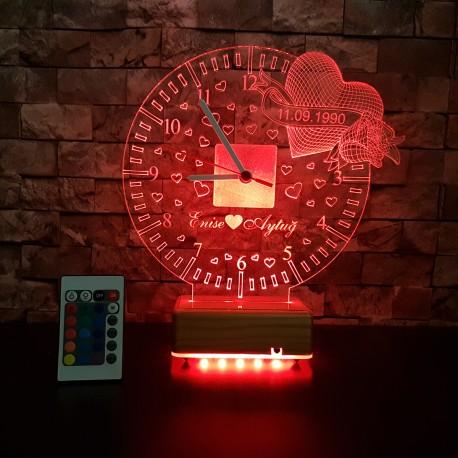 KALPLİ SAAT 3D LED LAMBA - İSİMLİ KİŞİYE ÖZEL 3 BOYUTLU DEKORATİF LED LAMBA