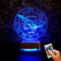 F16 SAATLİ İSİMLİ LED LAMBA 3D İSME ÖZEL HEDİYE LED LAMBA
