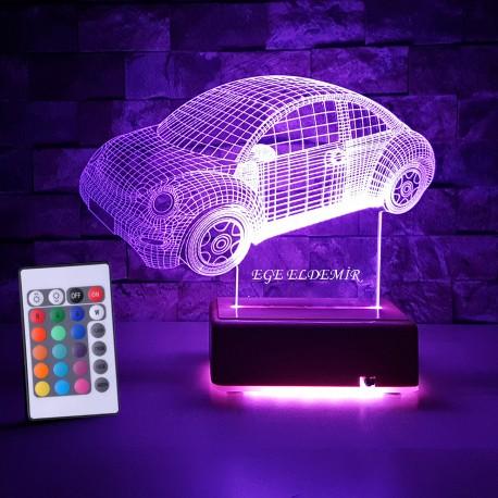 VW ARABA 3D LED LAMBA - İSİMLİ KİŞİYE ÖZEL 3 BOYUTLU DEKORATİF LED LAMBA
