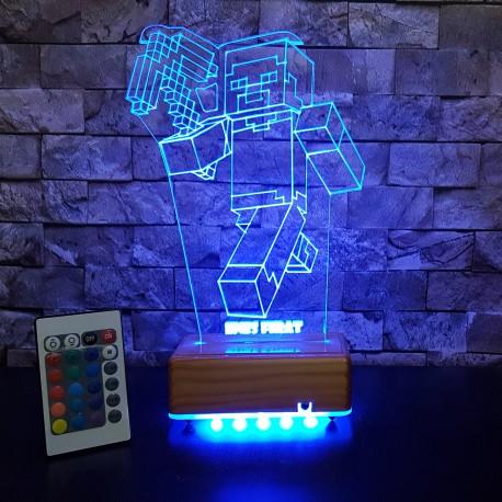 MİNECRAFT  3D LED LAMBA - İSİMLİ KİŞİYE ÖZEL 3 BOYUTLU DEKORATİF LED LAMBA