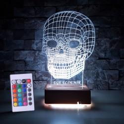 KURUKAFA 3D LED LAMBA - İSİMLİ KİŞİYE ÖZEL 3 BOYUTLU DEKORATİF LED LAMBA