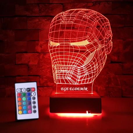IRONMAN 3D MASKE LED LAMBA - İSİMLİ KİŞİYE ÖZEL 3 BOYUTLU DEKORATİF LED LAMBA