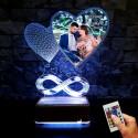 Sevgiliye Hediye Resimli Led Lamba Kalpli Sonsuzluj Tasarım