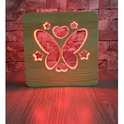 Kelebek Ahşap Gece Lambası 16Renk Led Lamba Çocuk Odası Lamba