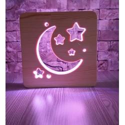 Ay Yıldız Ahşap Gece Lambası 16 Renkli Lamba Çocuk Odası Lamba