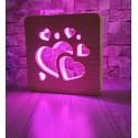 Kalpler Ahşap Gece Lambası 16 Renk Led Lamba Sevgiliye Hediye
