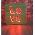 Sevgililere Özel Ahşap Gece Lambası LOVE 16 Renkli Led Lamba