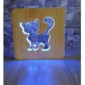 Kedili Ahşap Gece Lambası 16 Renkli Led Lamba Çocuk Odası Lambası