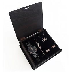 Sevgiliye Hediye Set Siyah Metal Saat Sonsuzluk Takı Seti Rose Set Ahşap Kutu