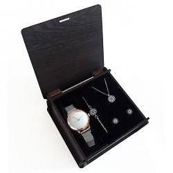 Sevgiliye Hediye Set Beyaz Hasır Saat Nazar Takı Seti Ahşap Kutu