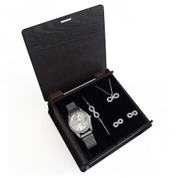 Sevgiliye Hediye Set Beyaz Hasır Saat Sonsuz Takı Seti Ahşap Kutu