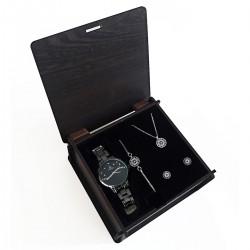 Sevgiliye Hediye Set Siyah Metal Saat Nazar Takı Seti Rose Set Ahşap Kutu