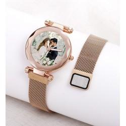 Rose Renk Resimli Bayan Saati Kişiye Özel Hediye