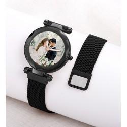 Siyah Renk Resimli Bayan Saati Kişiye Özel Hediye