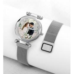 Beyaz Renk Resimli Bayan Saati Kişiye Özel Hediye