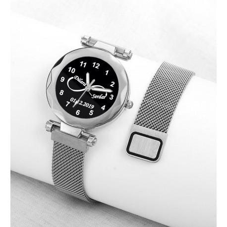 Beyaz Renk İsimli Bayan Saati Kişiye Özel Hediye