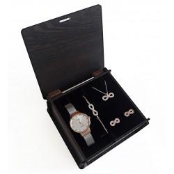 Sevgiliye Hediye Set Beyaz Rose Hasır Saat Sonsuz Takı Seti Ahşap Kutulu