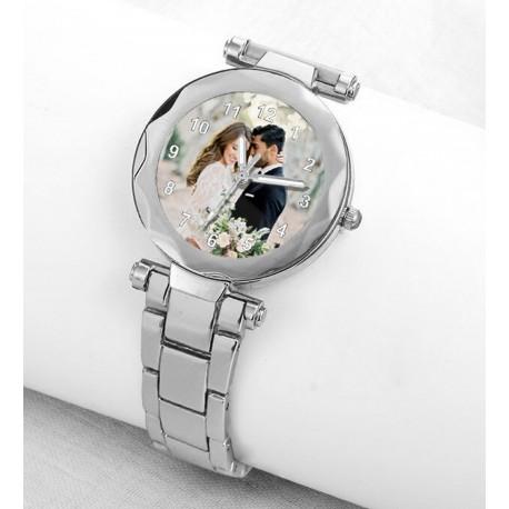 Beyaz Metal Resimli Bayan Saati Kişiye Özel Hediye