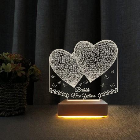 2 Kalpli 3d Lamba  Yıldönümü Hediyesi Gece Lambası