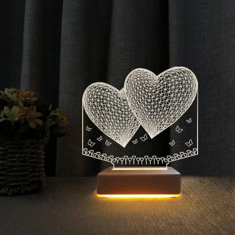 2Kalp Tasarım 3D Gece Lambası Sevgili Hediyesi Lamba