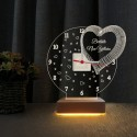 Kalpli Saatli Gece Lambası Yıldönümü Hediyesi 3d Led Lamba