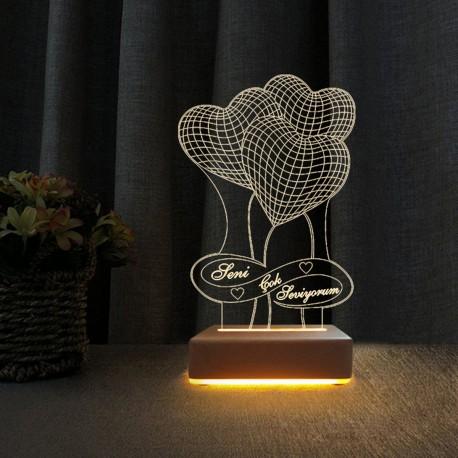 3Kalpli Led Gece Lambası Seni Çok Seviyorum Yazılı Hediyelik Lamba