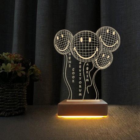 Gülen Yüzler Balon Tasarım Led Gece Lambası Sevgiliye Hediye Lamba