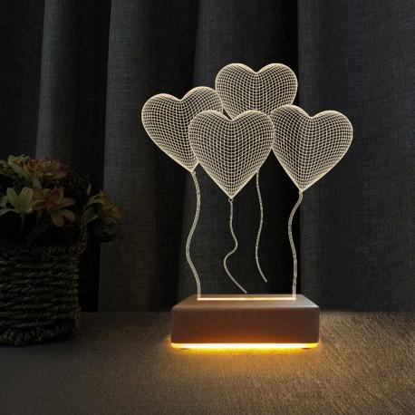 4 Kalp Tasarım Sevgili Hediyesi 3d Led Gece Lambası