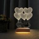 5 Kalp Tasarım Sevgili Hediyesi 3d Led Gece Lambası