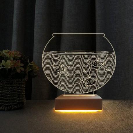 3d Akvaryum Tasarım Led Gece Lambası Doğumgünü Hediyesi