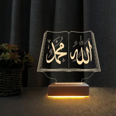 3d Led Gece Lambası Allah Muhammed Yazılı Led Lamba