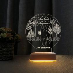 Aşk Bahçesi 3d Led Gece Lambası Seni Çok Seviyorum Yazılı Lamba