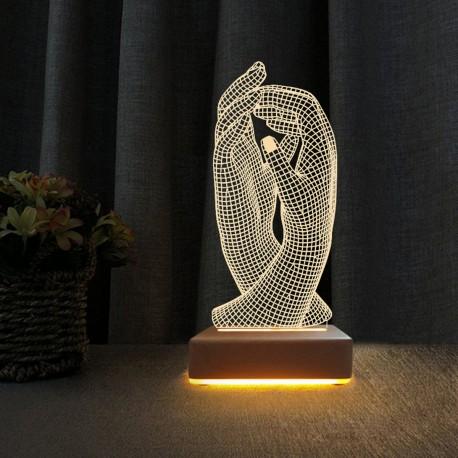 Aşk El Ele 3d Tasarım Led Gece Lambası Sevgiliye Hediye Lamba