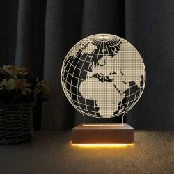 Dünya Tasarım 3d Led Lamba Masa Gece Lambası
