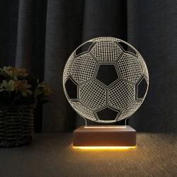 Futbol Topu 3d Led Lamba Çocuk Odası Gece Lambası