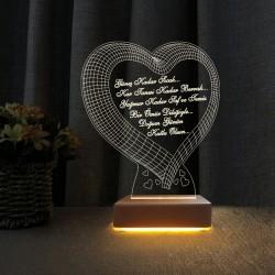 Kalpli 3d Doğum Günü Hediyesi Gece Lambası Doğum Günü Mesajlı