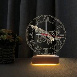 Türk F16 3D Led Saatli Gece Lambası Masa Lambası